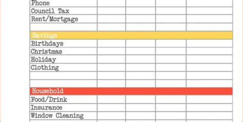 income outgoings spreadsheet google spreadshee monthly