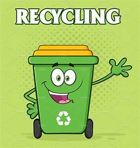 Green Recycle Bin Cartoon Character ~ Illustrations ...