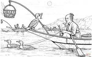 Ukai Japan Cormorant Fishing Coloring Page