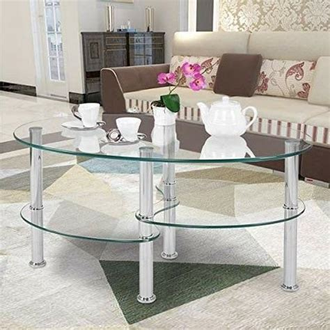 Modern coffee tables for a luxe living room. Tangkula Glass Coffee Table 2-Tire Modern Oval Smooth
