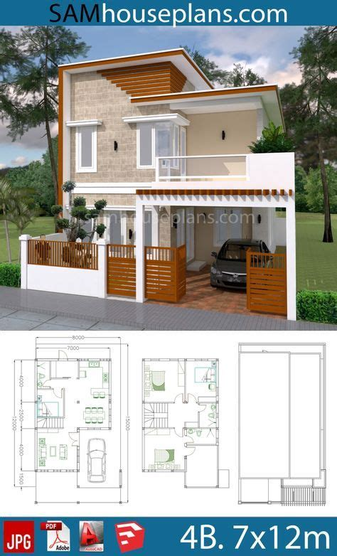 House Plans 7x12m with 4 Bedrooms Plot 8x15 Model house