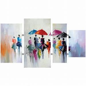Tableau Triptyque Moderne : tableaux triptyque tableau contemporain 4 parties multicolore urbain ~ Teatrodelosmanantiales.com Idées de Décoration