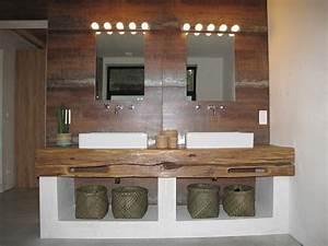 realisations notre travail en decoration valenciennes With plan de travail en bois pour salle de bain