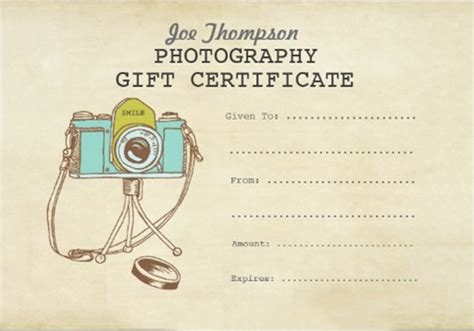 sample attractive photography gift certificate