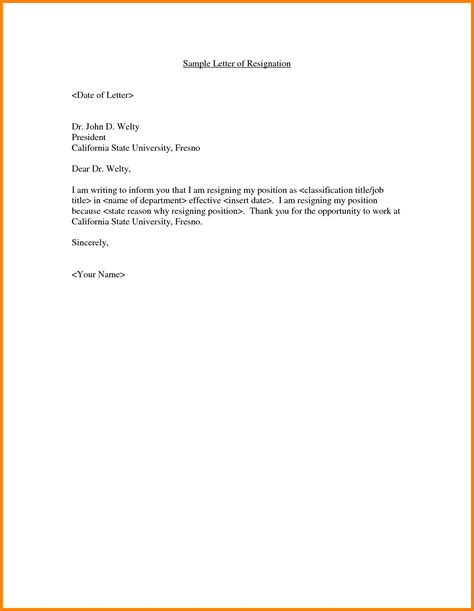 standard resignation letter template word examples