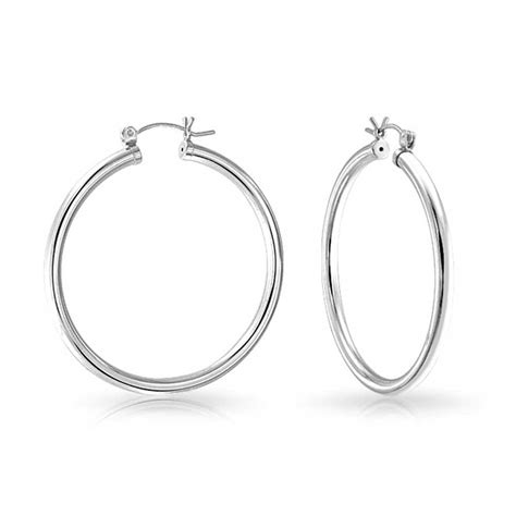 925 sterling silver round hoop earrings 1 5in