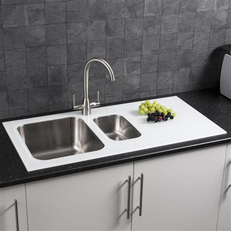 sauber  bowl kitchen sink  black glass drainer