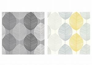 Arthouse Scandi Leaf Yellow or Black & Grey Retro ...