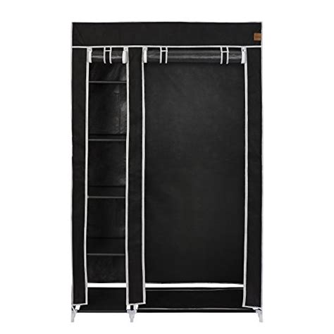Cupboard Hanging Rail by Vonhaus Canvas Effect Wardrobe Clothes Cupboard
