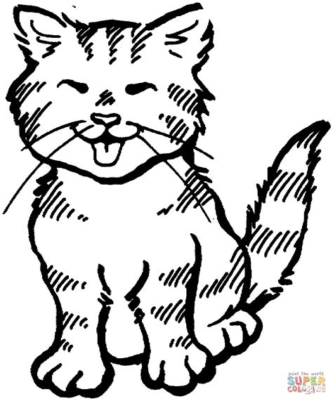 kitten meowing coloring page  printable coloring pages