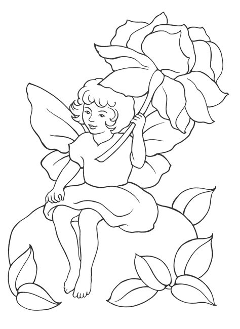 Coloring page Fairy under the flower