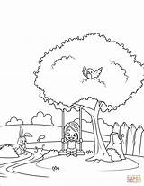 Swing Coloring Pages Tree Printable Drawing Trees Books Getdrawings sketch template