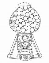 Gumball Coloring Machine Colouring Printable Ball Gum Adults Retro 17qq Dispenser Line Pressing Pop Wickedbabesblog sketch template