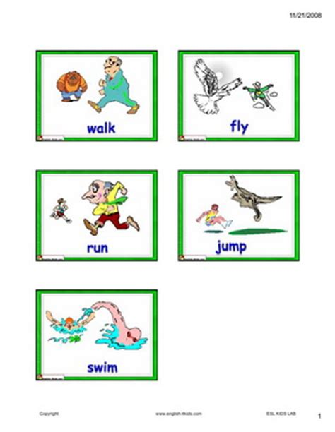 English For Kids,esl Kids Actions Flashcard