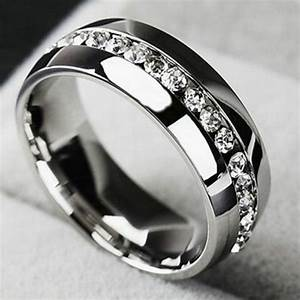 men women cz couple stainless steel wedding ring titanium With women s stainless steel wedding rings