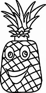 Pineapple Coloring Cartoon Characters Pages Printable Wecoloringpage Hat sketch template