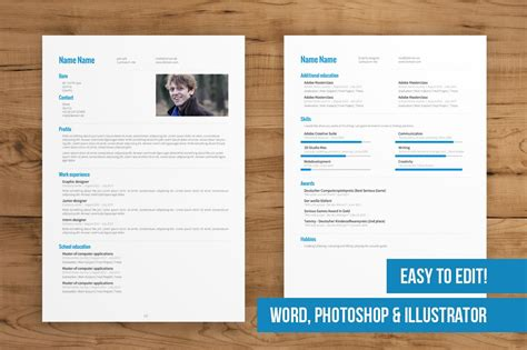 page cv template easy  edit resume templates