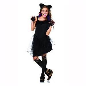 tween cat costume black jinxy kitty cat juniors teen child costume leg
