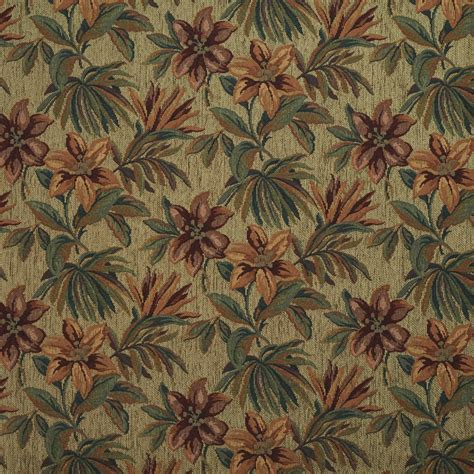 Floral Upholstery Fabric by Green And Orange Floral Chenille Upholstery Fabric
