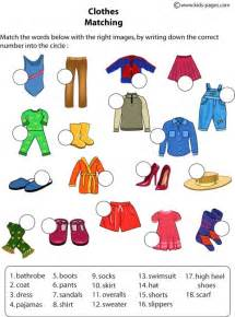 second designer kleidung clothes matching worksheet