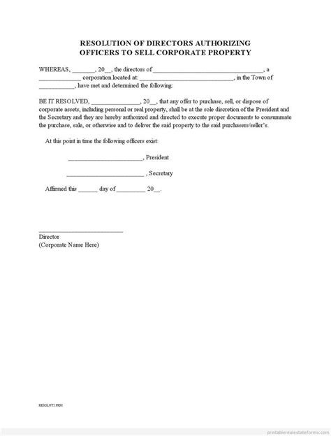 trust dissolution template doc sle printable corporate resolution to sell property