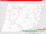 Wyoming County, PA Zip Code Wall Map Red Line Style by ...