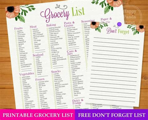 Master Grocery List Checkmark Printable Grocery Shopping List