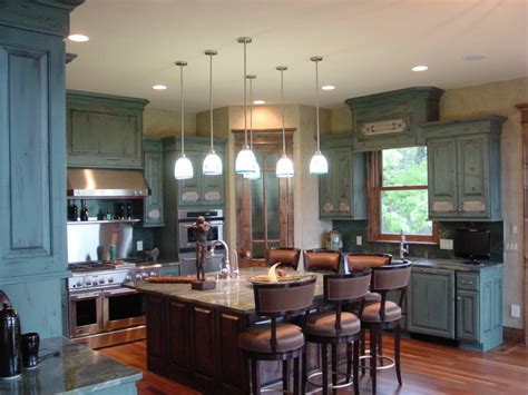blue distressed kitchen cabinetry
