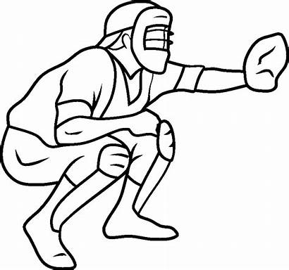 Baseball Coloring Pages Catcher Printable Drawing Field
