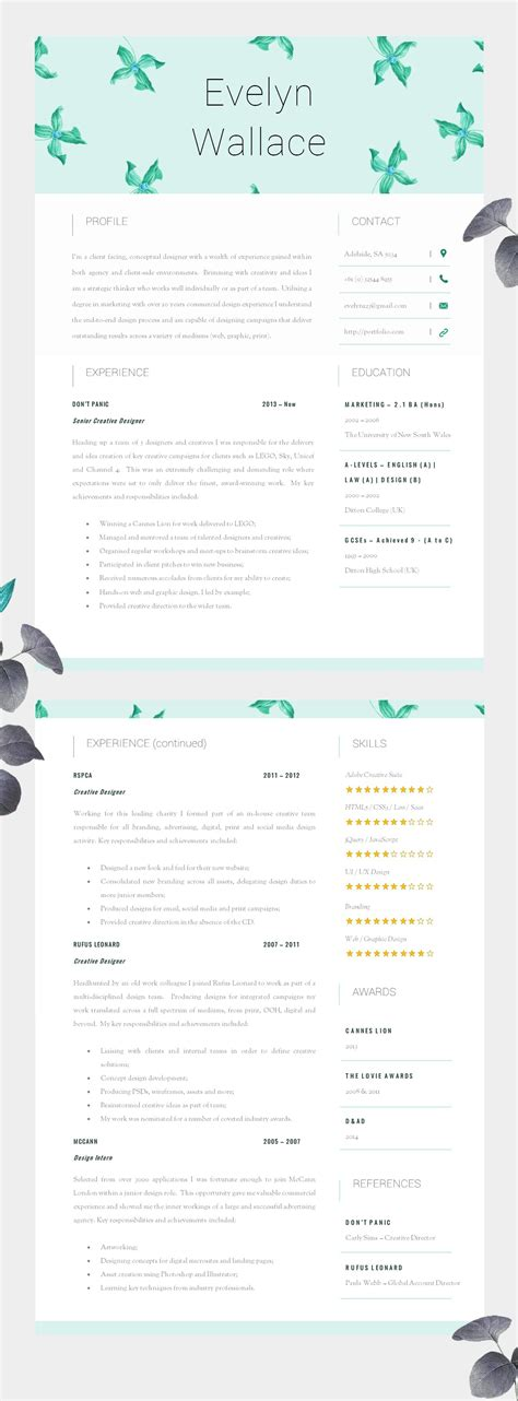 Cv Get Interviews by Beautiful Resume Template Two Page Cv Cover Letter