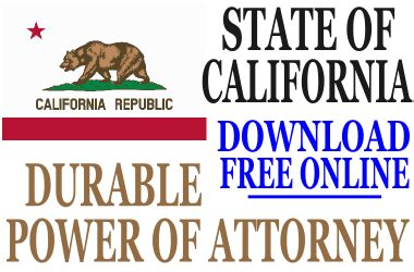 durable power of attorney form for california california durable power of attorney free durable power