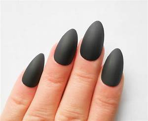 Matte Black Pointed Acrylic Nails images