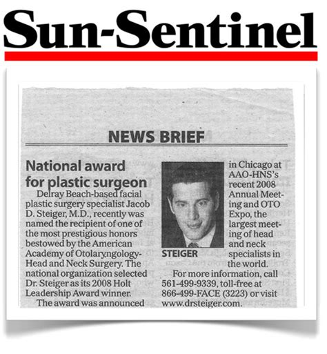 sun sentinel newspaper article steiger facial plastic
