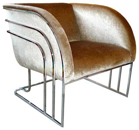 milo baughman chrome art deco club chair modern