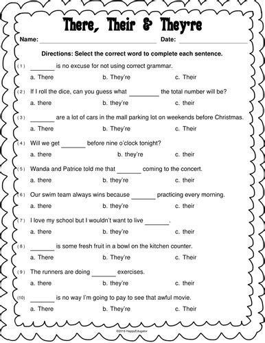 there their and they re worksheet by happyedugator