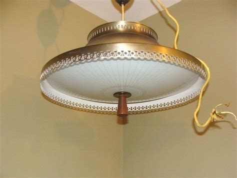 retractable ceiling light fixture vintage atomic ufo flying saucer retractable pull down