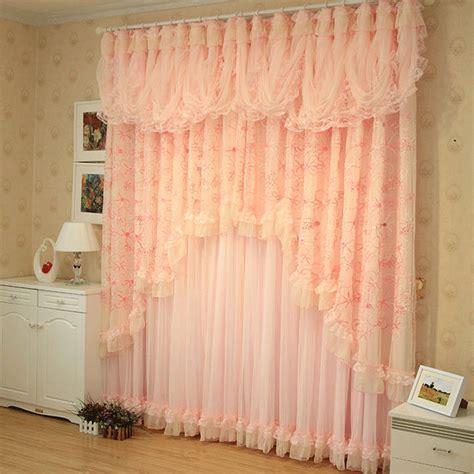 pink korean style lace ruffled curtains cortinas para sala