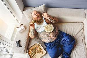 Fat Guy Eating Junk Food With Enjoyment Stock Photo ...