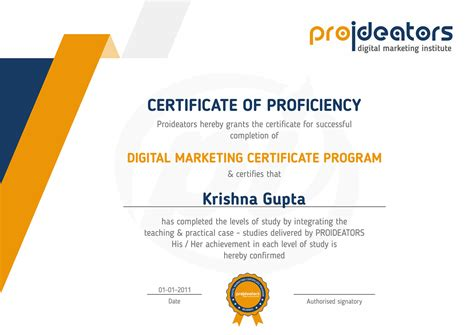 Best Digital Marketing Certificate by Proideators Certificates Proideators Digital Marketing