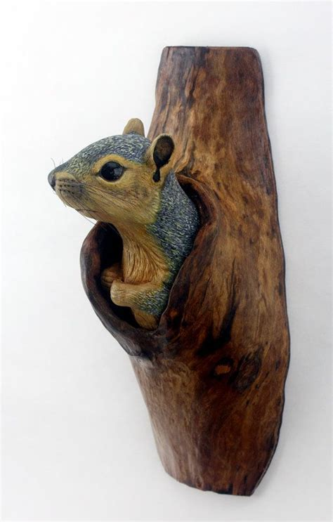 wall sculpture squirrel wood carving hand carved