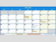 March 2018 Calendar With Holidays – printable weekly calendar