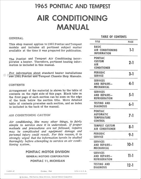 Pontiac Air Conditioning Shop Manual Gto Tempest