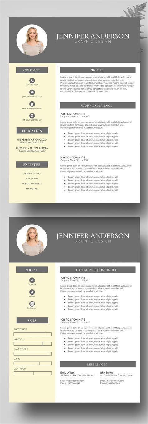 Buy Cv Template by Photo Resume Instant Resume Bundles Modern