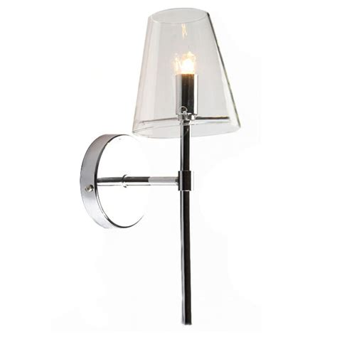 modern chrome and clear glass shade wall sconce 11190