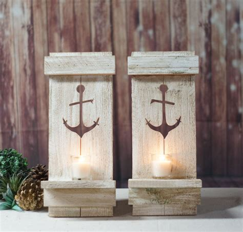 A wide variety of rustic wall decor options are available to you Nautical Anchor Pallet Wall Sconce - Beach House Decor - Distressed Wood Wall Decor - Beach ...
