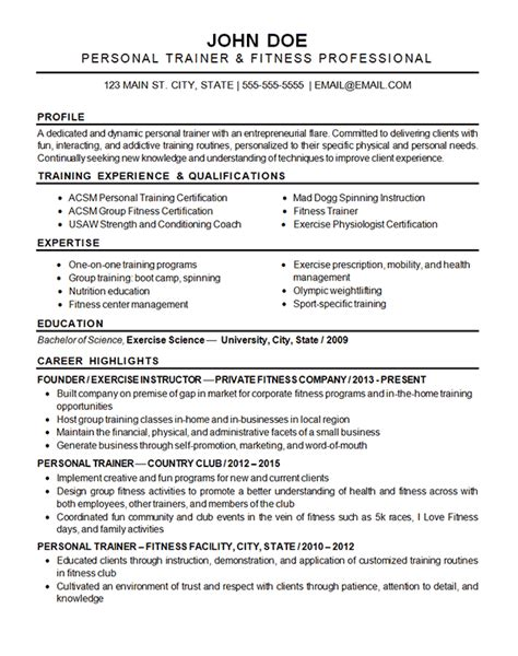 sports fitness resume  exercise instructor trainer