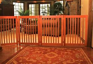Dog gate wood freestanding indoor barrier large dog 27quot or for Dog fence for inside house