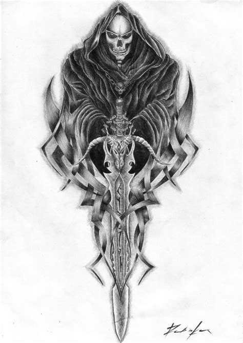 Tribal Sword And Grim Reaper Tattoo Design