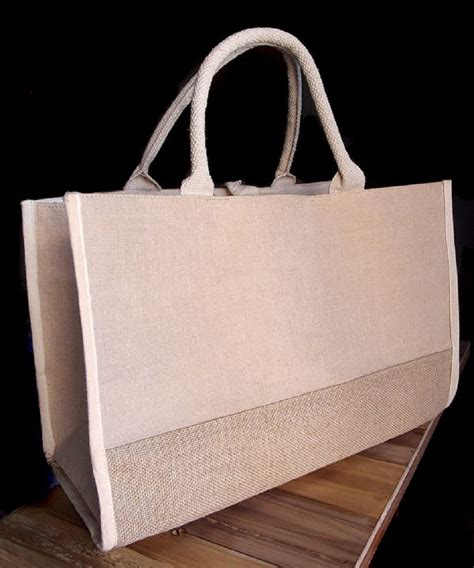 TBF - Fashion Jute Blend Cotton Tote Bags Gussetted Heavy ...
