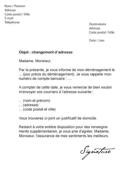 Modification De Poste by Exemple De Courrier Pour Un Changement D Adresse